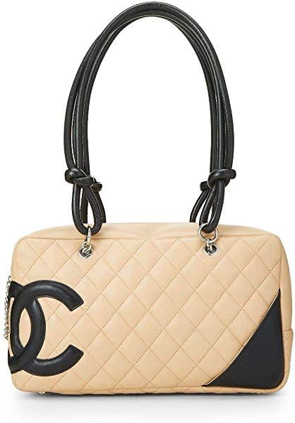 3e30c07addd6 CHANEL Beige Quilted Calfskin Cambon Ligne Bowler (Pre-Owned): Handbags:  Amazon