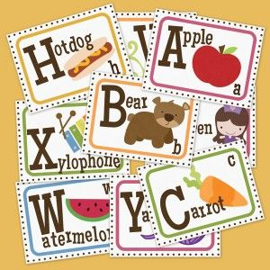 ABC Flash Cards printables.  Free but you must register for a (free) membership first. Can download 3 things every 30 days from this site.