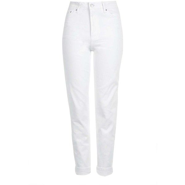 Topshop Moto White Mom Jeans ($52) ❤ liked on Polyvore featuring jeans, topshop, white, cuff jeans, highwaist jeans, topshop jeans, high rise jeans and high-waisted jeans