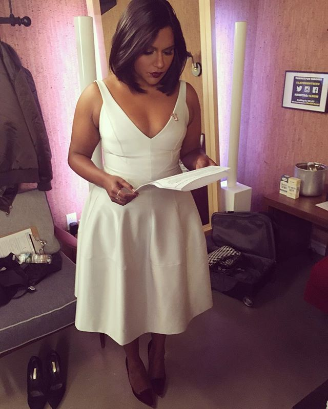 @cristinaehrlich putting me in winter white for @latenightseth #lnsm ❄️❤️❄️#mindy kaling