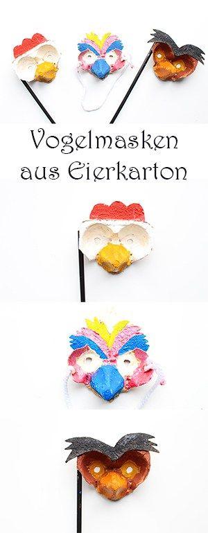 DIY Ostern. Vogelmasken aus Eierkarton