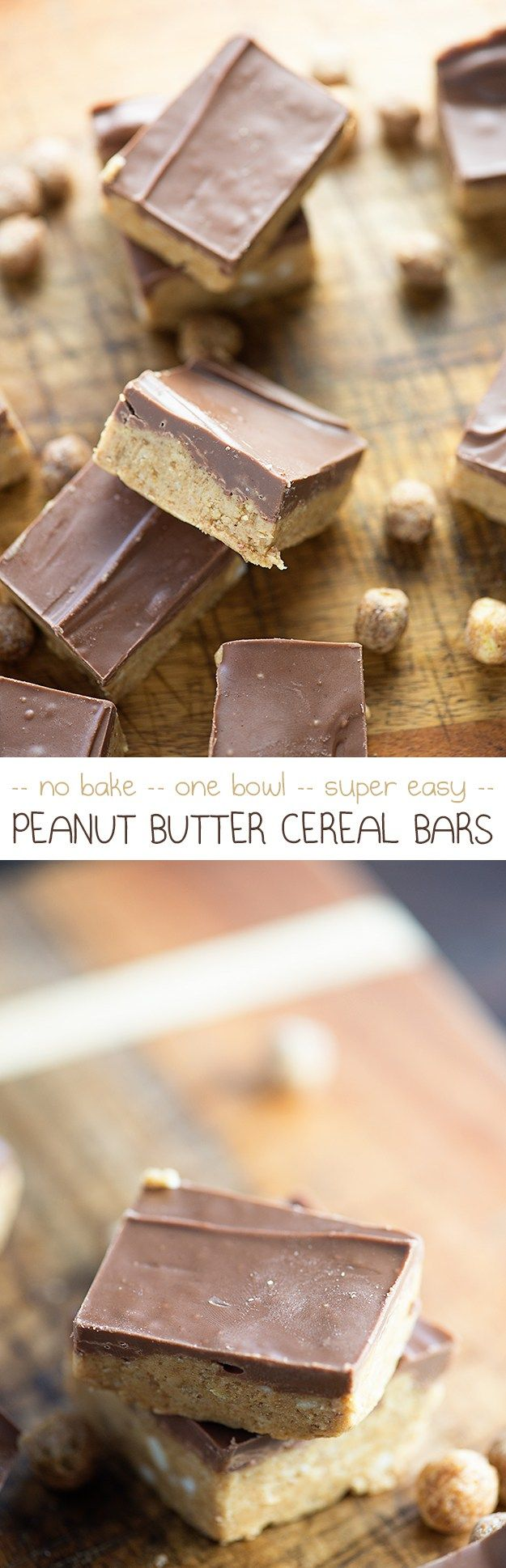 No Bake Peanut Butter Bars - these have an extra burst of chocolate and peanut butter from Reese's Puffs cereal! My kids beg for these bars.