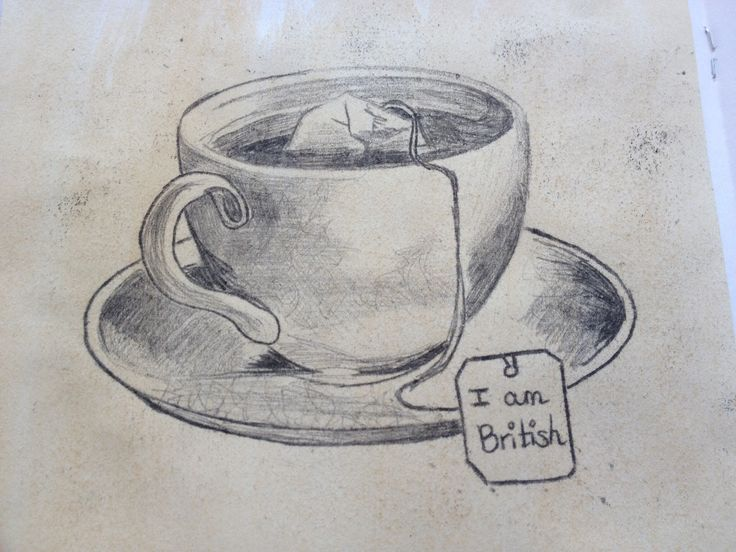 Teastained teacup sketch using oil pastel tracing