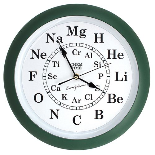 Our unique Chem Time Clock replaces the usual clock numbers with symbols of elements having corresponding atomic numbers. 'H' replaces '1', 'He' replaces '2', etc. The idea for this clock came from Prof. Bassam Shakhashiri at the University of Wisconsin, who asked Ron Perkins to make one in the summer of 1983. It is the perfect addition to a science classroom. (Requires 1 AA Battery - not included.) 13 inch diameter. Attractive green border.