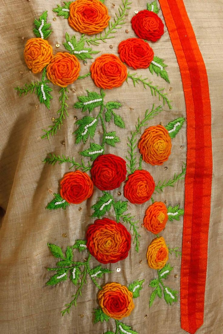 Beige and orange rose embroidered motifs kurta available only at Pernia's Pop Up Shop.