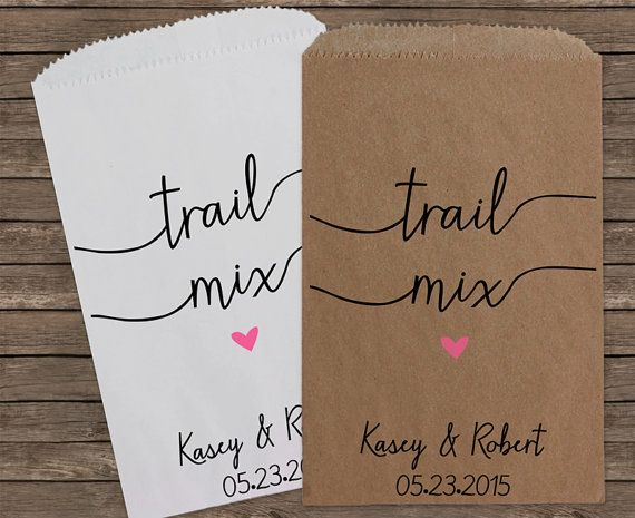 Trail Mix Rustic Wedding Favor Bags Candy Bar by StampsJubilee