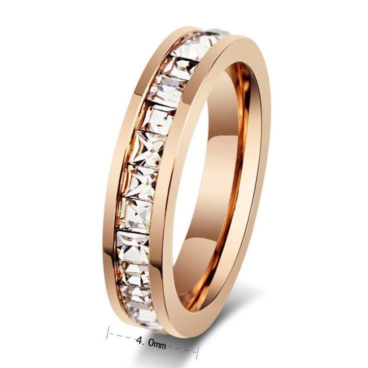 Geometric Design Women Fashion Wedding Ring Rose Gold Ring Titanium Steel Rings For Women Summer Engagement Jewelry