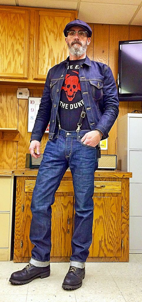 Brave Star Ironside 15oz Cone Mills selvage denim jacket, Edwin denim jeans, 1970's steel toe work boots, USA made leather suspenders, Steve Earle 2017 tour t-shirt, cheap ebay twill cap.