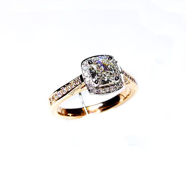 'Halo' Diamond Engagement Ring - Cushion 0.86ct - G SI2 - Rose Gold - Diamond Imports