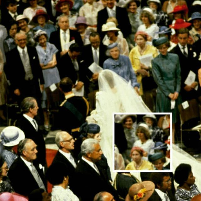 "#mulpix 29 July 1981: Prince Charles mistress, Camilla Parker Bowles, gazes at the newly wed royal couple as they leave St. Paul's Cathedral after their fairytale wedding ceremony. Princess Diana spotted Camilla: ""I spotted her, pale grey, pillbox hat, saw it all, to this day, you know, vivid memory. I thought: 'Well, there we are, that's it, let's hope that's all over with'."" Sadly, Charles's long-time affair with Camilla haunted their marriage. She said: ""My wedding day, I think that was…"