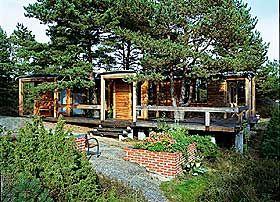 RISØR:  Byggherrens ønske var å bevare flest mulig trær. Sivilarkitekt Carl-Viggo Hølmebakk tegnet  hytta i 1997 rundt sju gamle furuer. Hytta fikk dermed mange små rom og  det ble tatt spesielt hensyn til at røttene skulle klare seg. Utsikt mot havet.