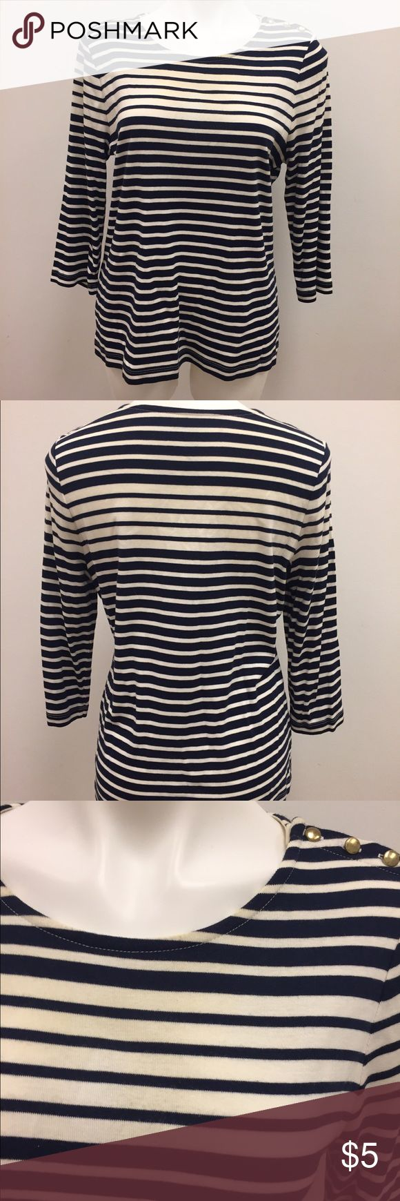 Nautical striped navy and cream top Cute graduated striped navy and cream Blouse from dressbarn in a size XL. It has a 3/4 length sleeve and is in good condition other than yellowing at the neck unfortunately. #stripes #nautical #summer Dress Barn Tops