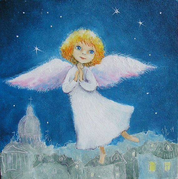 "Angel Guardian Angel Original painting oil 5x5"" Baby room Decor Nursery Wall hanging"