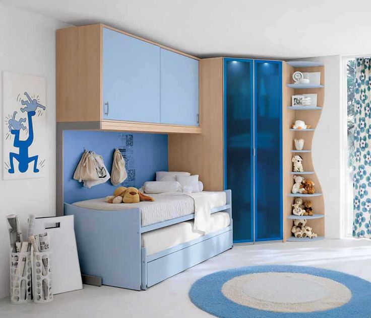 Bedroom Ideas for Small Room with blue bad and wooden cupboard for teenage girl