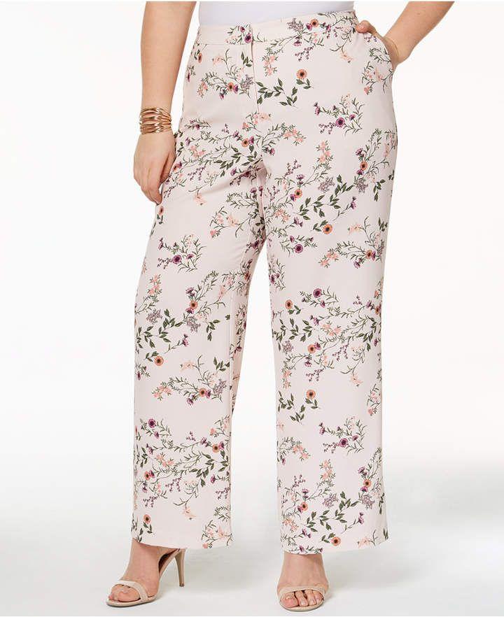 47e006413aa Alfani Plus Size Printed Wide-Leg Pants