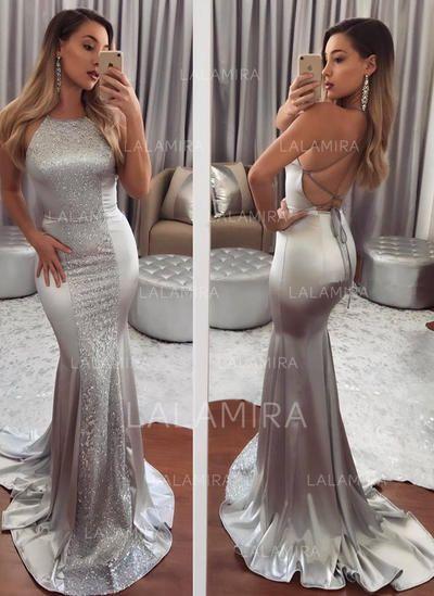 US  137.53  Elegant Satin Evening Dresses Trumpet Mermaid Sweep Train  Scoop Neck Sleeveless aa0323912