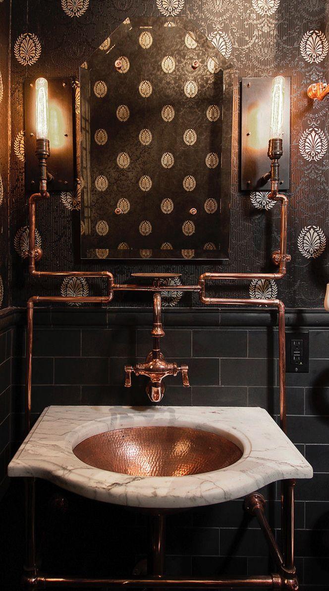 For bathroom decoration with copper bathroom sinks copper bathroom - Copper Pipes Out A Bathroom In San Francisco Les Tubes De Cuivre Sont