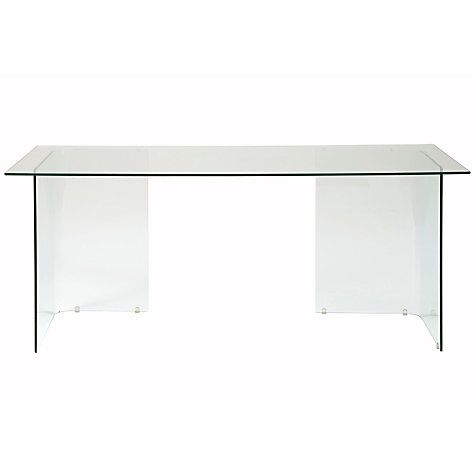 Buy John Lewis Staten 140 Clear Glass Top Desk with Glass Trestles Online at johnlewis.com