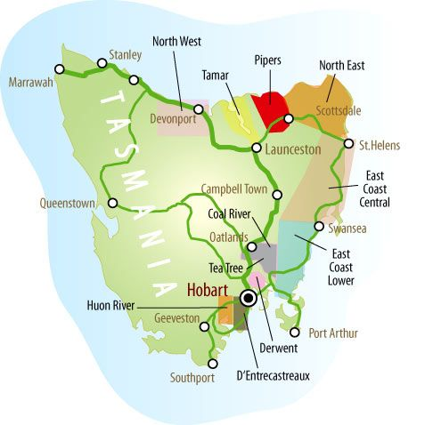 Tasmania's wine producing areas