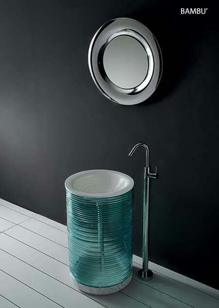 Product Name : Bambu Cylindrical floor washbasin made with float glass rings, base in white Carrara marble, bowl in colourful white melted glass complete with floor drain and built in siphon. Size: Ø cm. 45x83 h  Buy all Specchio products here  http://www.mirrorsandlights.com/