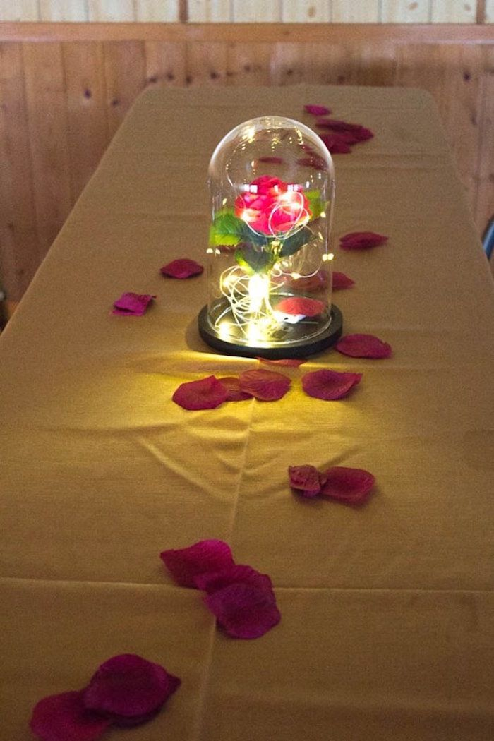 Enchanted Rose guest table from a Beauty and the Beast 1st Birthday Party on Kara's Party Ideas | KarasPartyIdeas.com (15)