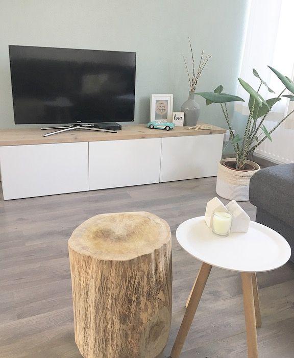 Tv meubel besta Ikea met gebruikte steigerhout planken