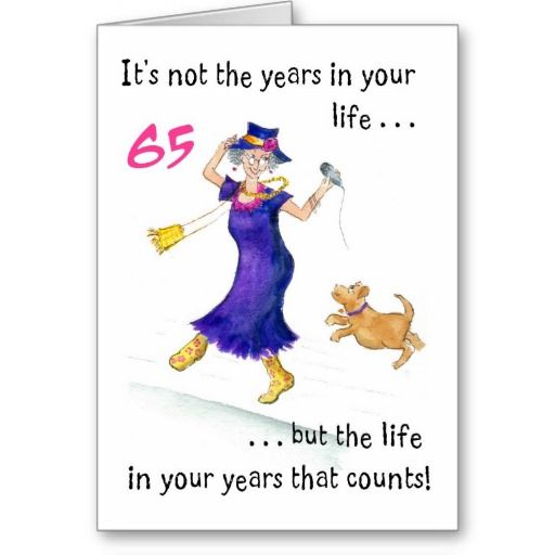 Fun 65th Birthday Card For A Woman