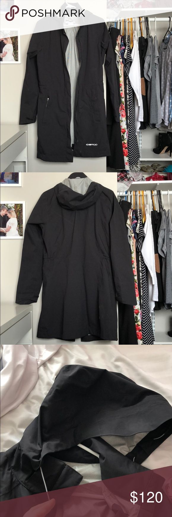 ⚫️ Black Rain Coat with outside and inside pockets Really great jacket! Hood and waist have ties to provides a better and more flattering look. Pockets on the outside zip up so nothing gets wet. 4 Pocket's inside of various sizes. Sleeves tighten so water doesn't get in under your wrists. Women's medium, true to size. Only worn once, in perfect condition.   Measurements:  Length: about 34 inches Exofficio Jackets & Coats Trench Coats