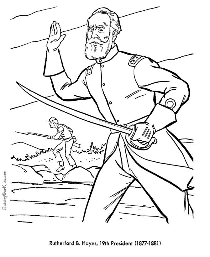 free printable president rutherford b hayes coloring pages