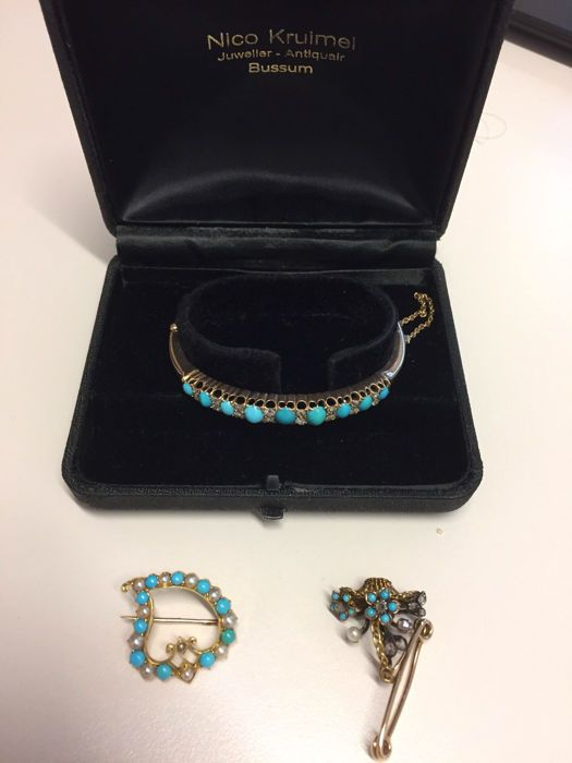 victorian pearl and turquoise parure, 1880-1895