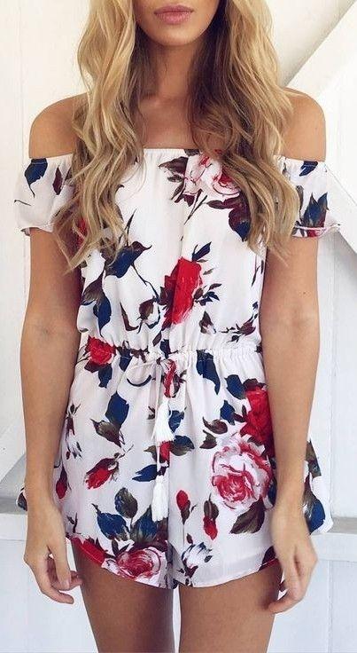 #summer #clothing #trends   Off Shoulder White Floral Playsuit