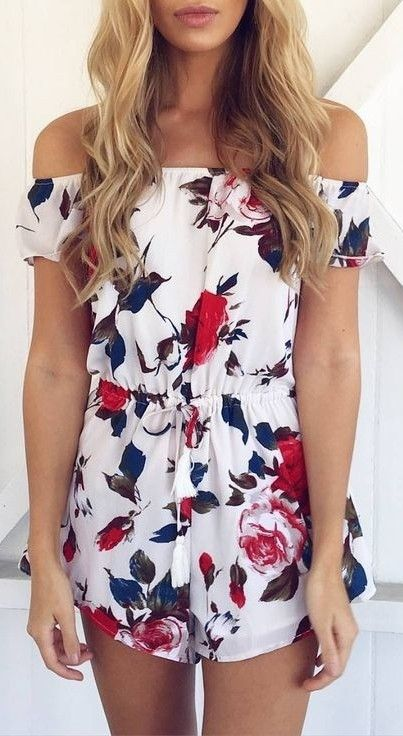 #summer #clothing #trends | Off Shoulder White Floral Playsuit