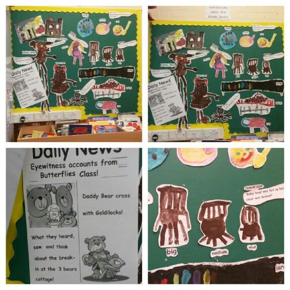 A Goldilocks & 3 bears display I created using the classes art & conversation...incs sizes