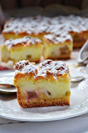 Ciasto z budyniem i rabarbarem | Kuchnia w zieleni