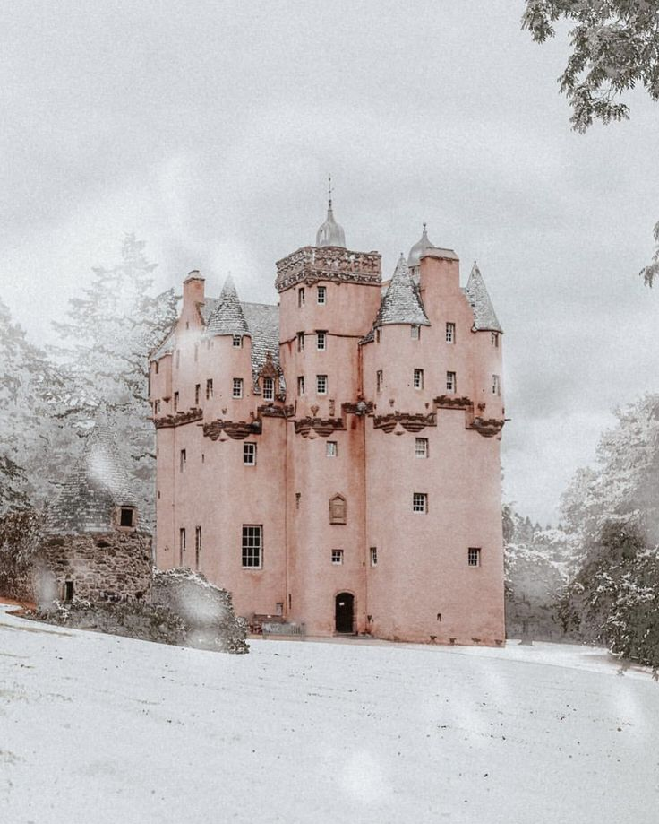 Okay I've found my dream home, when can I move in? ✨Ridiculous pink castle of dreams in Scotland shot by @monalogue