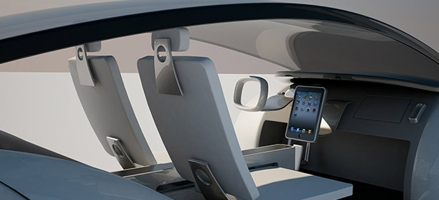 iCar Interior    Of course, there's an iPad front-and-center, along with the steering wheel from an alien spacecraft. We're assuming there are clear glass panels that slide into place for inclement weather.: Concept, Top 10, Apples, 10 Tech, Week Pics