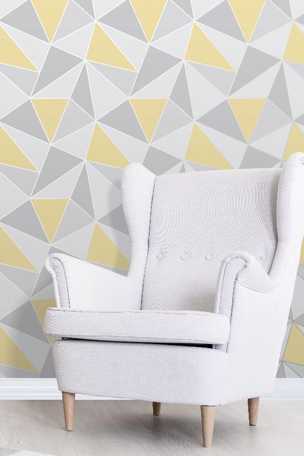 Apex Geo By Albany Yellow Wallpaper Fd41991 Pink Geometric Wallpaper Living Room Decor Inspiration Geometric Wallpaper Design