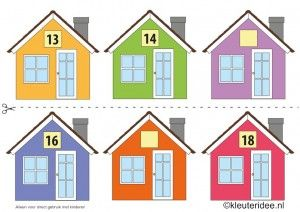 CITOvaardigheden voor kleuters, Welk nummer heeft het huisje in de straat 3, What number is the house in the street, free printable