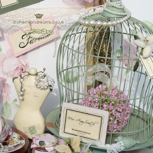 sage green birdcage www.bohemiandreams.co.uk