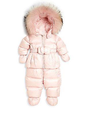Add Down Baby's Two-Piece Fur-Trim Down Jacket Snow Suit Set
