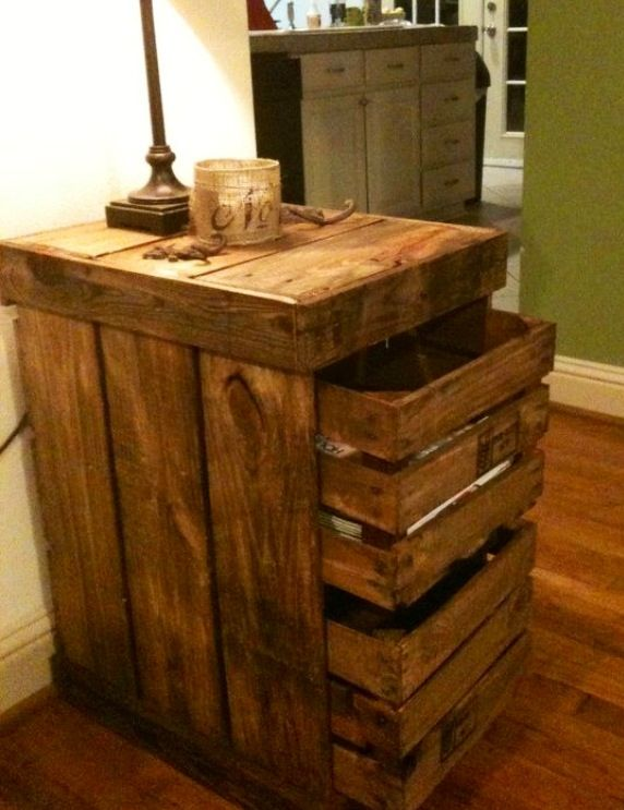 Stained pallet wood end table with pull out crate drawer type storage.