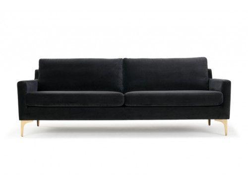 Astha, 3-seater sofa, Velour Dark Grey, Brass Color Legs, Sofacompany