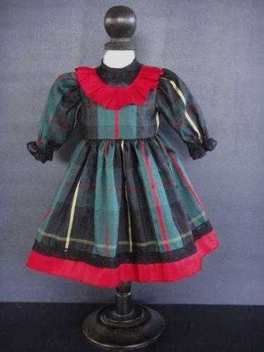 Vestido-de-la-muneca-de-seda-frances-para-Muneca-14-16-034-Estilo-Antiguo-hecho-En-Francia-G-bravot