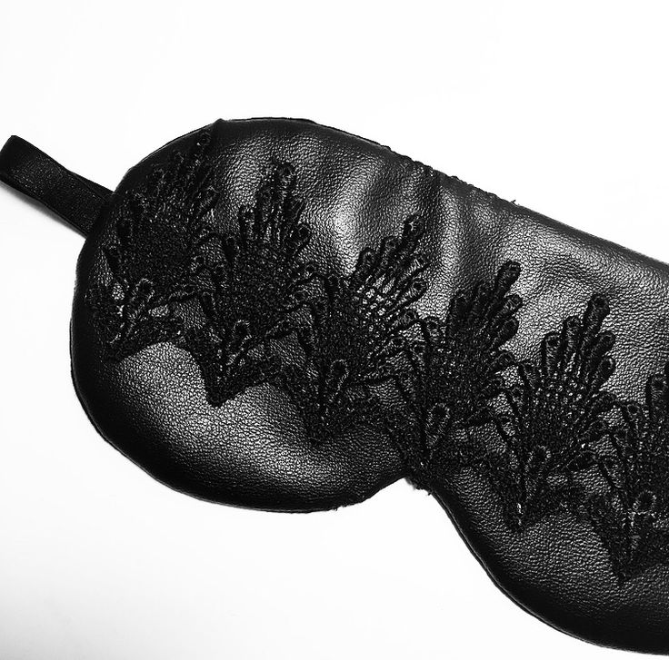 Another shot of the black luxury leather and lace eye mask. Learn how to make this here: http://lingerielafemme.com/articles/diy-luxury-eye-mask/2761/