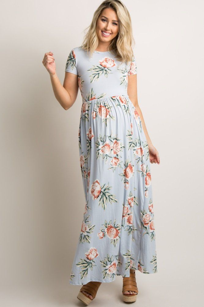 06c2eb21582b0 Add this unique and adorable maternity maxi dress to your collection this  season. We love the light pastels and gorgeous florals in this dress. With  a ...