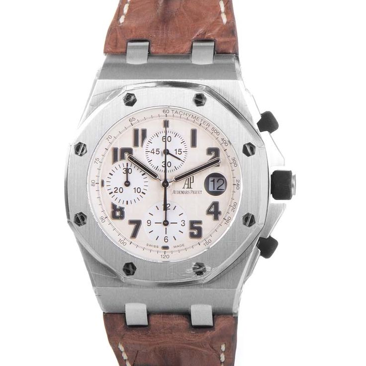 #Audemars Piguet Offshore Safari Brown Croc Strap #Stainless #Steel 42mm case brush finished case. Automatic chronograph Movement. White dial with Subsidiary dials. 26020ST.00.D091CR.01d  Condition: Preowned 2010 Boxed. #buy