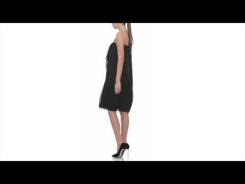 Strapless silk Chiffon Dress - Laura Hincu Shop