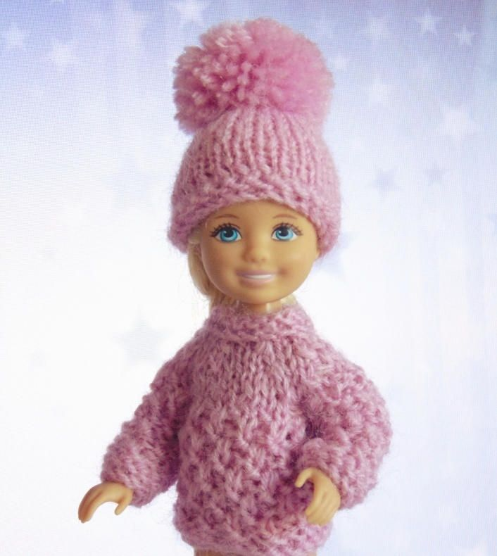 Miniature sweater Chelsea doll outfit sweater hat Kelly