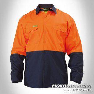 Desain Seragam Baju Wearpack Lengan Panjang Atasan Warna Orange Donker