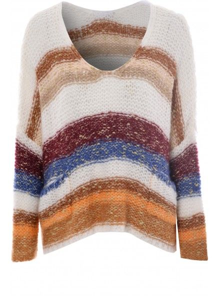 Cream Jumper With Multi Coloured Stripes